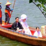 嫁入り舟などで観光都市アピール カフェテラスin境川2015