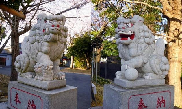 稲荷神社の狛犬は一番新しいが迫力たっぷり