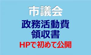 市議会 政務活動費領収書 HPで初めて公開