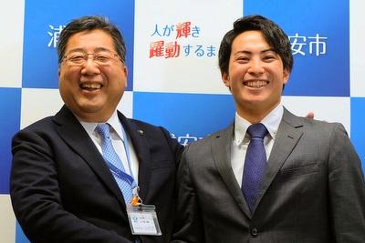 吉田大成選手と内田市長