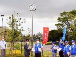 浦安公園に「時計塔」を寄贈 浦安ベイロータリークラブ