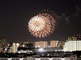 浦安市民のための花火 浦安海岸で約100発打ち上げ